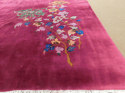 Circa 1920 Antique Chinese Nickel Handknotted Wool Purple Area Rug 8.6 x 11.6