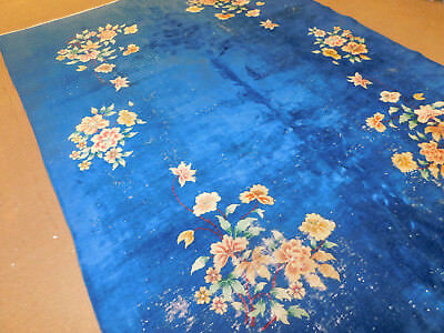 Circa 1920 Antique Chinese Nickel Handknotted Wool Blue Area Rug 9 x 12