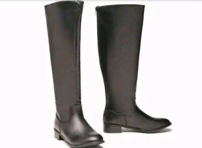 669079389cd NEW WOMEN S SOCIOLOGY Knee High Black Zip Up Khloe Riding Boots Size ...