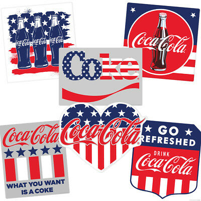 Coca-Cola Stars and Stripes Patriotic Vinyl Sticker Set of 6 Vintage Style