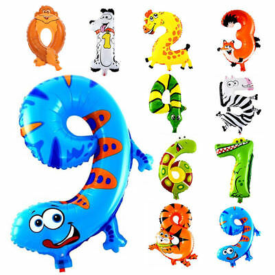 "Self Inflating 16"" INCH Foil Number BALLOONS Happy Birthday Large Animal Ballons"