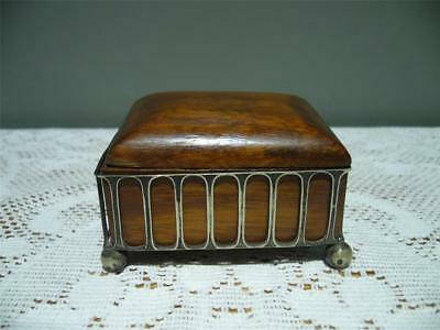 Victorian Silver Plated Box Holder With Wooden Box - Robert Pringle - Tarnished