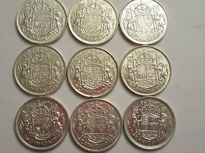 Lot of 9 Canada Silver Half Dollars, 80% silver, mixed 1940's &50's, nice detail