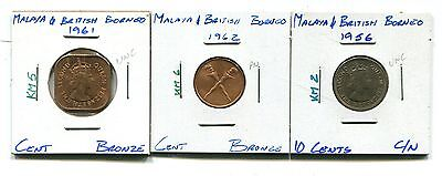 Malaya and British Borneo : Lot of 3 different uncirculated coins 1956 - 1962