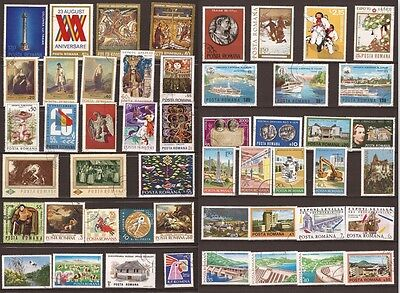 113T1 ROMANIA 50 stamps canceled: dams,industry,landscapes ,various
