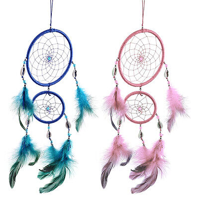 Luckly Blue Dream Catcher Circular With feather Wall Windows Hanging Decoration