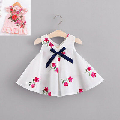 Newborn Baby Girls Floral Princess Dress Bowknot Summer Dress Clothes Outfit