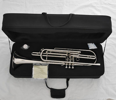 Professional silver nickel Bb Piston Bass Trumpet Horn & leather Case