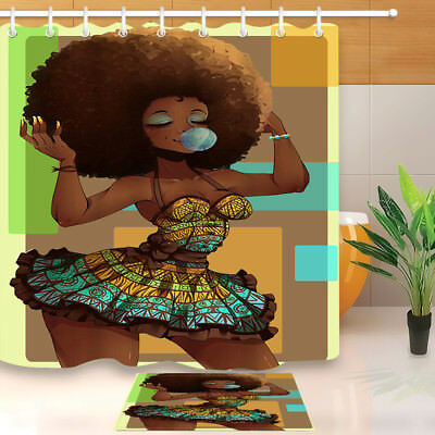 Makeup African American Afro Black Woman Shower Curtain Liner Bathroom Mat