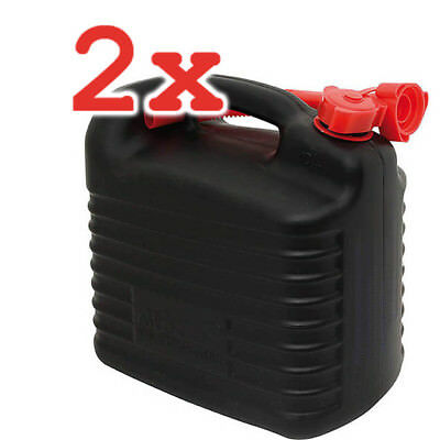 2x Stahlblech-Benzinkanister jerry can with safety pin 10L 35,5 x 17,5 x 28 grün