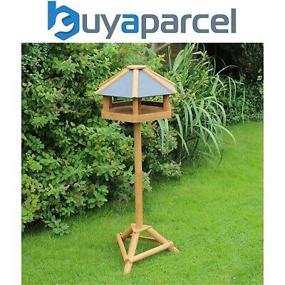 Kingfisher Hex Slate Roof Wooden Free Standing Wild Bird Table House Feeder