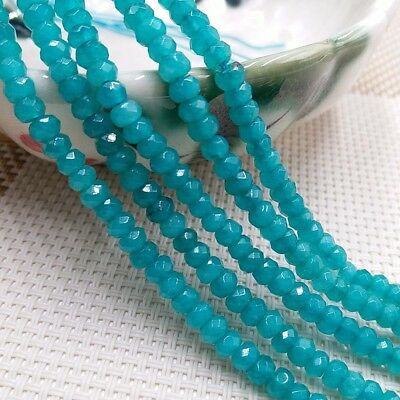 """Natural 4x6mm Blue Aquamarine Faceted Rondelle Gemstone Loose Beads 15""""AAA"""