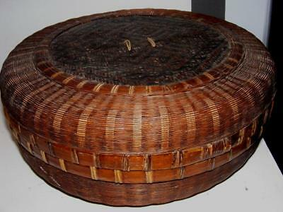 """ANTIQUE Handmade Woven Chinese Sewing BASKET Lidded X Large round 15"""" x 5"""" Vtg"""