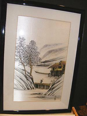 FRAMED ASIAN WATERCOLOR Painting on SILK Japanese Chinese Antique Oriental