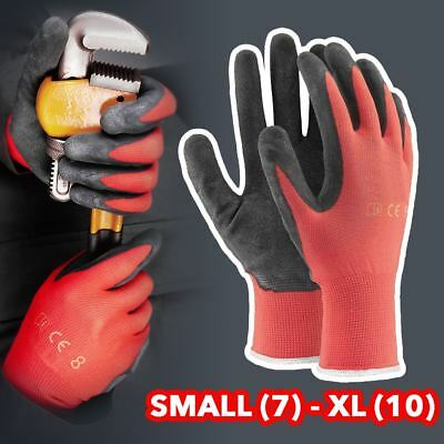 12 / 24 Pairs New Latex Coated Nylon Work Gloves Safety Garden Grip Builders