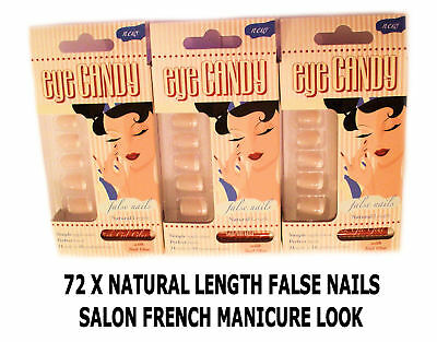 Eye Candy 72 False Artificial Nail Tips Natural French Manicure Look With Glue