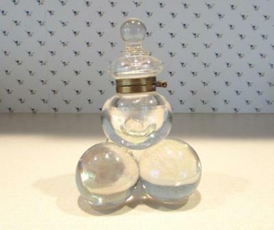 Vintage Antique Iridescent  Glass Ball Inkwell   Late 19th Century