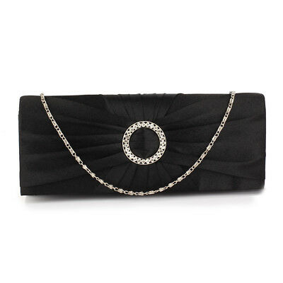 Women's Satin Clutch Bag Ladies Crystal Wallet Evening Prom Party Wedding Purse
