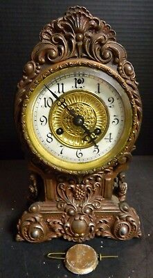 Antique Cast Iron Ornate Waterbury Shelf / Mantle Clock Copper Finish Very Good
