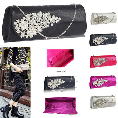 Womens Ruched Satin Clutch With Crystal Flower Ladies Evening Prom Wedding Purse