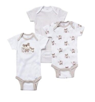 Gerber Baby Unisex 3-Piece Onesies Bears Set Size NB; Baby Clothes Shower Gift
