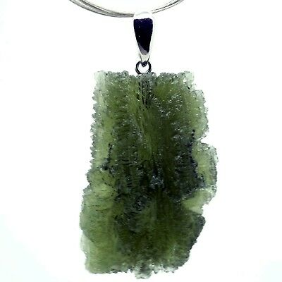 MOLDAVITE - 10.66 grams Sterling Silver Pendant - PERFECT and LUXURIOUS GIFT