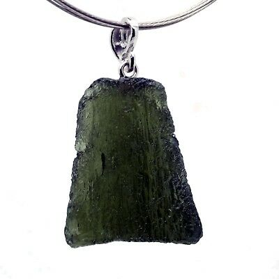 MOLDAVITE - 5.33 grams Sterling Silver Pendant - PERFECT and LUXURIOUS GIFT