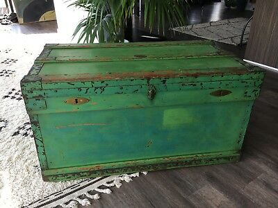 Vintage Antique Steamer Trunk, Luggage, Coffee Table, Marshall Improved Chest
