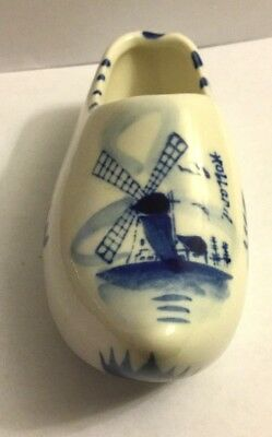 """Vintage Delft Blue Wooden Shoe ( Gouda Mark On Bottom) Hand Painted 4 1/2"""" By 2"""""""