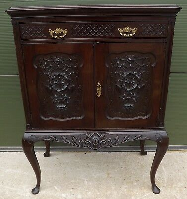 Antique Edwardian Mahogany Cocktail Drinks Cabinet With Carved Panels