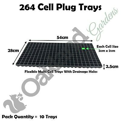 10 x 264 Multi Cell Plug Trays Seed Tray Bedding Seedling Inserts Propagation