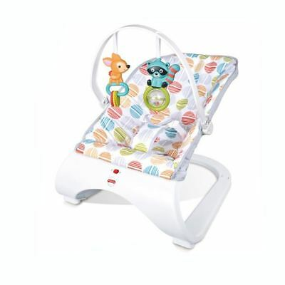 Baby Soothing Vibration Musical Curved Bouncer with Toys by Babyhugs - White