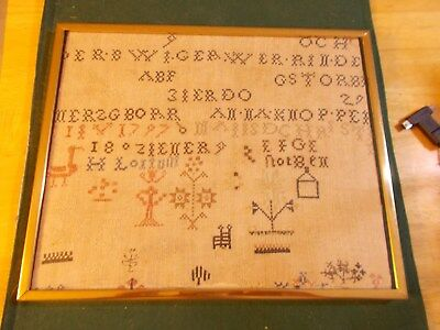 Dated 1793, 1797 And 1802 Sampler From Amish Pennsylvana With Flowers Bird Chair