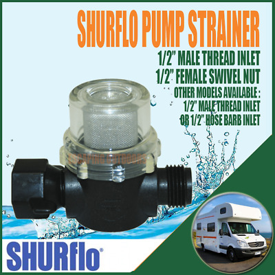 "SHURFlo Caravan Boat Water Pump Strainer 1/2"" male inlet -1/2"" female swivel nut"