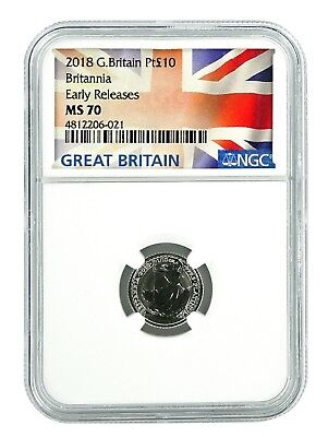 2018 Great Britain 1/10th Oz Platinum Britannia NGC MS70 Early Releases
