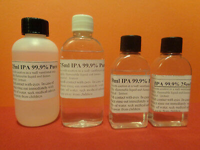 Isopropyl Alcohol 99.9% pure ISO Isopropanol IPA Rubbing Alcohol.Choice of sizes
