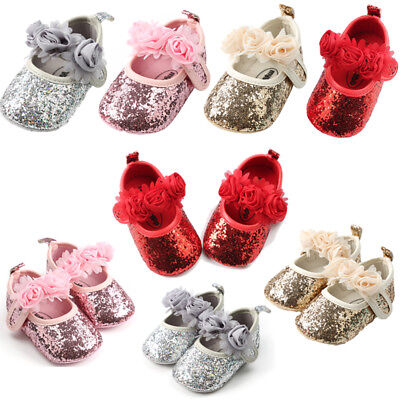 US Newborn Baby Girl Sequin Crib Shoes Soft Sole Prewalker Anti-slip Sneaker Mon