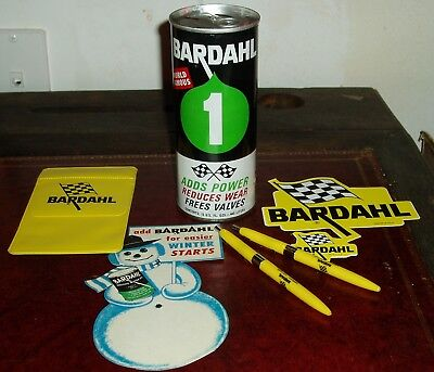 BARDAHL COLLECTION 1960's-1970's UNOPENED CAN PENS POCKET PROTECTOR DECALS++