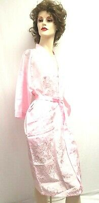 "Short Lt Pink Robe Kimono bath robe 41"" long Brand New handmade floral Size M"