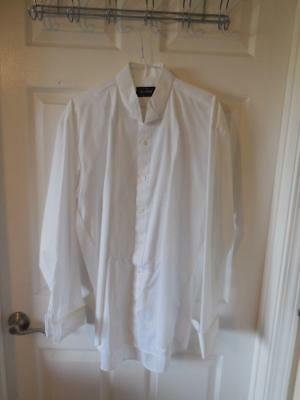 Keats and Lyford Wing Collar Tuxedo Shirt White ~ Size L 16-16.5