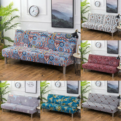 Folding Armless Sofa Polyester Cover Furniture Seater Protector Couch Slipcovers
