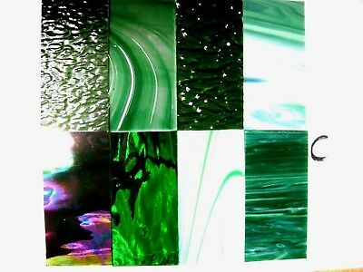 8 GREEN  Stained Glass Hobby Sheets 100mm x 50mm x 3m  Quality Craft Items LOT C