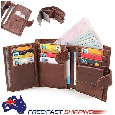 AU Stock Mens Quality Leather Clutch Wallet ID Bifold Credit Card Holder Purse
