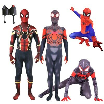 Spider-Man Into the Spider-Verse Kids Adult Costume Miles Morales Cosplay Outfit