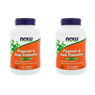 2X Now Foods Pygeum Saw Palmetto Men Health Supports Healthy Prostate Function