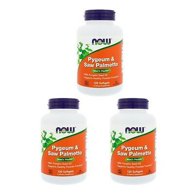 3X Now Foods Pygeum Saw Palmetto Men Health Supports Healthy Prostate Function