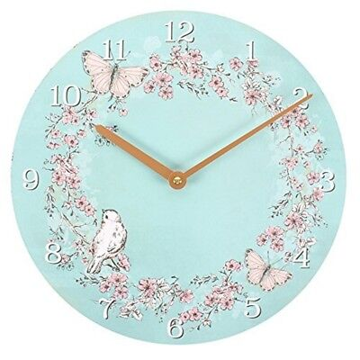 Shabby Chic Pale Blue Butterfly/bird Design Clock - Wooden Wall Rustic Vintage