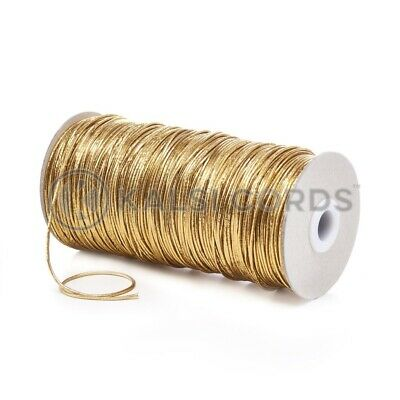 2mm THIN ROUND GOLD ELASTIC LUREX METALIC STRETCH CORD SWING TAGS GIFT WRAPPING