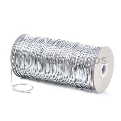 2mm THIN ROUND SILVER ELASTIC LUREX METALIC STRETCH CORD SWING TAG GIFT WRAPPING