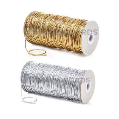 2mm THIN ROUND GOLD OR SILVER ELASTIC LUREX METALIC CORD SWING TAG GIFT WRAPPING